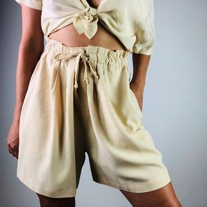 [Vintage] Silk Cream High Waisted Drawstring Short